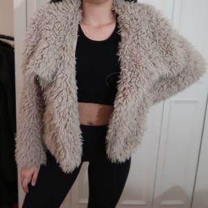 Tan zara fuzzy jacket